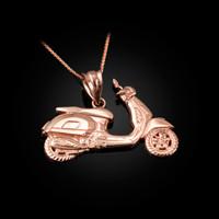 Rose Gold Vespa Scooter Bike Pendant Necklace