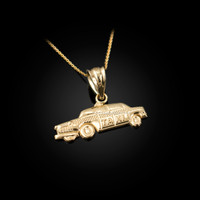 Yellow Gold Small Taxi Cab Charm Necklace