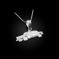 White Gold Small Taxi Cab Charm Necklace