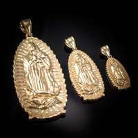Yellow Gold Our Lady of Guadalupe Virgin Mary Pendant (S/M/L)