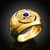 Gold Celtic Birthstone Men's Ring with Blue CZ