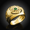 Gold Celtic Birthstone Men's Ring with Emerald-green Cubic Zirconia
