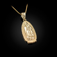 Yellow Gold Our Lady of Guadalupe Virgin Mary Pendant Necklace