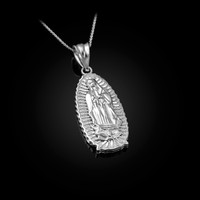 White Gold Our Lady of Guadalupe Virgin Mary Pendant Necklace