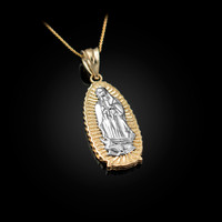 Two-Tone Yellow Gold Our Lady of Guadalupe Virgin Mary Pendant Necklace