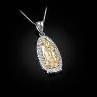 Two-Tone White Gold Our Lady of Guadalupe Virgin Mary Pendant Necklace