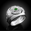 Mens White Gold Celtic Birthstone Ring