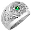 White Gold Celtic Men's Ring with emerald-green Birthstone CZ