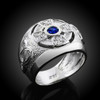 White Gold Celtic Men's Ring with sapphire-blue Birthstone CZ