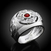 White Gold Celtic Men's Ring with Ruby-red Birthstone CZ