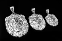 White Gold Lion Face DC Pendant (S/M/L)