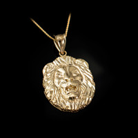 Yellow Gold Lion Face DC Pendant Necklace