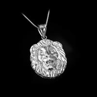 White Gold Lion Face DC Pendant Necklace