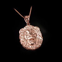 Rose Gold Lion Face DC Pendant Necklace