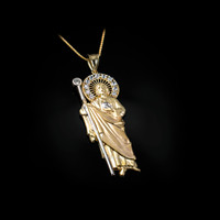 Yellow Gold St. Jude CZ Pendant Necklace