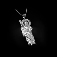 White Gold St. Jude CZ Pendant Necklace