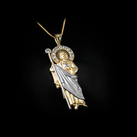 Two-Tone Yellow and White Gold St. Jude CZ Pendant Necklace