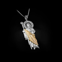 Two-Tone White and Yellow Gold St. Jude CZ Pendant Necklace