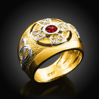 Two-Tone Gold Men's Celtic Birthstone Ring