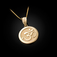 Gold Om Medallion Charm Necklace