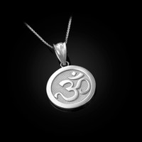 White Gold Om Medallion Charm Necklace