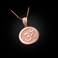 Rose Gold Om Medallion Charm Necklace