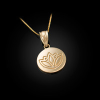 Gold Lotus Medallion Charm Necklace
