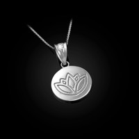 White Gold Lotus Medallion Charm Necklace