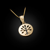 Gold Tree of Life Medallion Charm Necklace