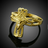 Yellow Gold Crucifix Cross Ring