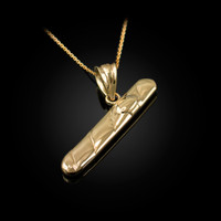 Solid Yellow Gold Cigar Pendant Necklace