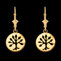 14K Yellow Gold Tree of Life Leverback Earrings