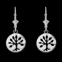 14K White Gold Tree of Life Leverback Earrings