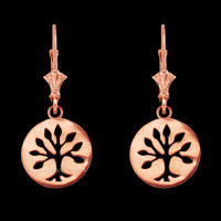 14K Rose Gold Tree of Life Leverback Earrings