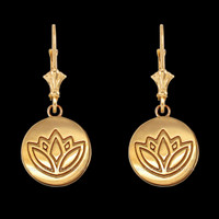 14K Yellow Gold Lotus Leverback Earrings