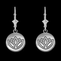 14K White Gold Lotus Leverback Earrings