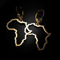 14K Yellow Gold Africa Open Design Leverback Earrings