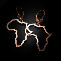 14K Rose Gold Africa Open Design Leverback Earrings
