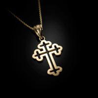 Yellow Gold Christian Apostolic Open Cross Pendant Necklace