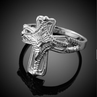 White Gold Crucifix Cross Ring