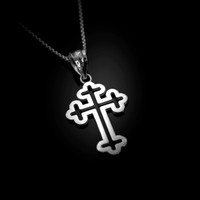 White Gold Christian Apostolic Open Cross Pendant Necklace