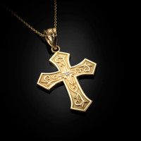 Yellow Gold Christian Passion Diamond Cross Pendant Necklace