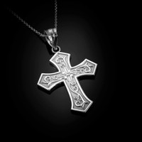 White Gold Christian Passion Diamond Cross Pendant Necklace