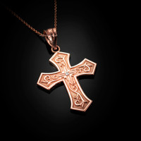 Rose Gold Christian Passion Diamond Cross Pendant Necklace