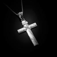 White Gold Woodgrain Rope Cross Pendant Necklace