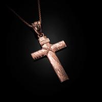 Rose Gold Woodgrain Rope Cross Pendant Necklace