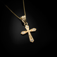 Yellow Gold Crucifix Cross Diamond Charm Necklace