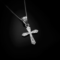 White Gold Crucifix Cross Diamond Charm Necklace