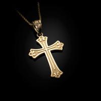 Yellow Gold Fleur de lis Cross Religious Pendant Necklace