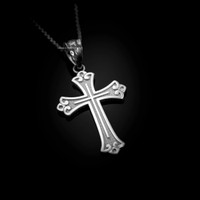 White Gold Fleur de lis Cross Religious Pendant Necklace